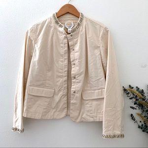 Talbots petite 14 beige beaded jacket hook close